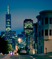 Nocturnal (kaoni701) Tags: sanfrancisco california ca street blue green tower night skyscraper dark pier lowlight nikon long pyramid dusk hill northbeach embarcadero shutter bayarea transamerica financial telegraph d90