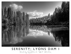 Serenity Series - Lyons Dam I (David 'Art' the Visual Artist) Tags: california ca trees sky white black water clouds mi forest river village dam logs reservoir pines lower sierras bushes hdr lyons wuk
