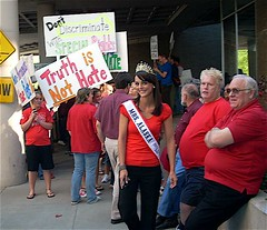 Mrs. Alaska United States prepares to parade children through the protest. Photo courtesy Phil Munger