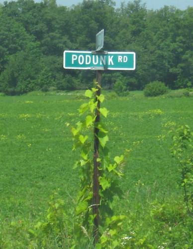 Podunk road sign
