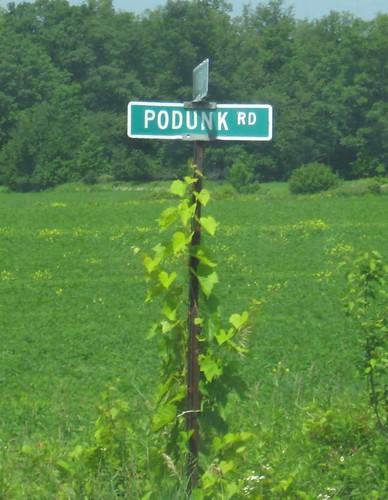 Podunk road sign