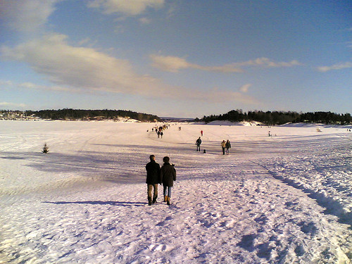Winter at a beach in Oslo Norway