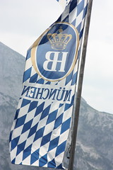 Hoffbrauhaus flag atop the Eagle's Nest (jayinvienna) Tags: beer germany bayern bavaria berchtesgaden nest flag bier munchen eaglesnest kehlsteinhaus eagles berchtesgadenland