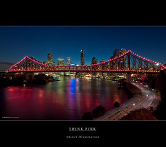 Think Pink (Cass n Dan) Tags: road city bridge blue light sunset sky night buildings reflections river lights nikon dusk australia brisbane citylights qld queensland bluehour brisbaneriver shrubs breastcancer soe storybridge brisbanecity thinkpink pinklights d90 brisbanenight nikond90 brisbanelights 100commentgroup brisbanecitylights cassndan
