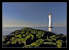 Lighthouse at New Brighton (pixiepic's) Tags: sea sky lighthouse moss rocks newbrighton onblue platinumheartaward platinumpeaceaward
