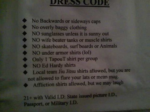 In other words, no D-bags allowed