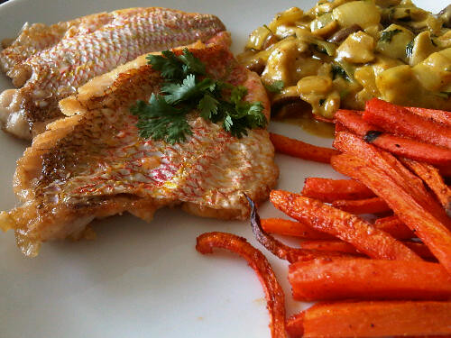 Pan fried red snapper with lemon sauce