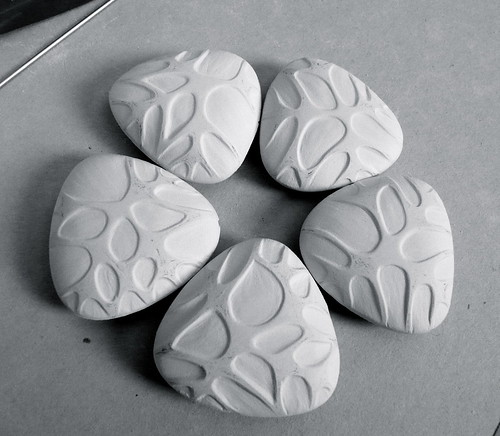Porcelain Beads - Greenware. Hand carved, hollow form, handbuilt