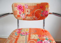 new (old) chair (ATLITW) Tags: pink flowers orange colour art vintage happy chair embroidery textile blanket homedecor thrifted gispen