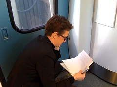 Live on the air (on the train) (The Rachel Maddow Show) Tags: msnbc rachelmaddow accela therachelmaddowshow