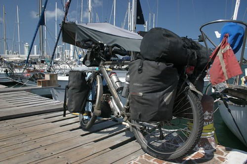My bike all set for the cruise on the Sacanagem sailing boat to Panama...