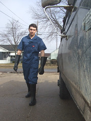Jeff the WickedCool Trashman 08 (bdahernphoto) Tags: jeff trash truck gloves rubberboots coverall garbageman