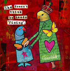 autism fixing card (allisonstrinedesigns) Tags: scrapbook whimsy colorful folkart ladybird custom quirky autism whimsical zne birdart allisonstrine