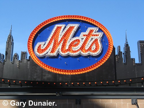 new york mets logo. Close-up of the Mets logo from