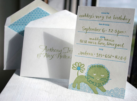 Liony invitation with calligraphy - by Smock