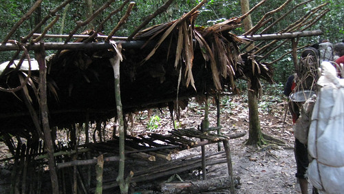 a poachers camp on the edge of the study area