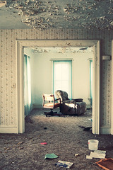 (yyellowbird) Tags: wallpaper house abandoned peeling paint chairs ceiling doorway springbrook