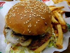 veggie burger and fries (Scorpions and Centaurs) Tags: food dinner restaurant yummy burger tasty frenchfries delicious meal vegetarian veggie sesameseeds bun chilis