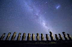 Easter Island Moai (JC Richardson) Tags: chile lighting blue statue night stars landscape star nikon uniform order character group row galaxy nikkor heavens organization easterisland cosmic rand d3 constellation array nationalgeographic richardson routine milkyway succession singlefile phalanx jimrichardson nikond3 nikkor1424mmf28