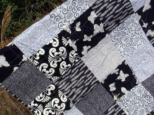 black white quilt back