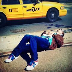 The Sidewalk Sunbather (x2) (antonkawasaki) Tags: nyc glasses book geek cab taxi streetphotography sneakers explore squareformat headphones iphone irregular 500x500 explored anawesomeshot stphotographia antonkawasaki thesidewalksunbather guylayingonthesidewalk spontaneouslytakinganap guyridingbike peopledosomeweirdassshitinnewyorkcity mobilephotogroup