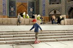 Isfahan: rollerblader at Imam square (moocatmoocat) Tags: boy people iran tiles roller iranian esfahan isfahan blader iranelection rollderblad
