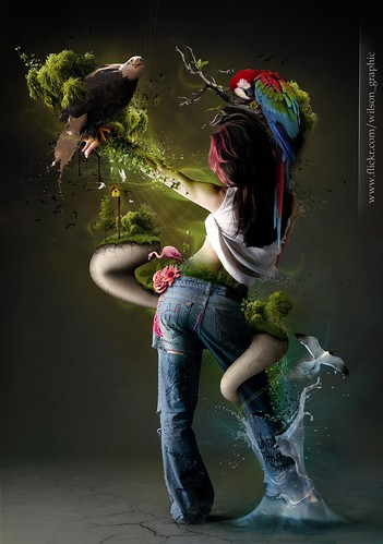 A girl in jeans entwined with objects in Nature, created with PhotoShop