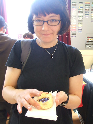 OMG ROSE MELBERG CAME TO MY BAKESALE AND ATE A RASPBERRY CHOCOLATE HAZELNUT DANISH!!!