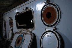 Iron Lung (LulaTaHula) Tags: old abandoned hospital wooden trapped decay machine mould derelict restricted cramped damp breathing claustrophobic delapidated ironlung mouldy polio