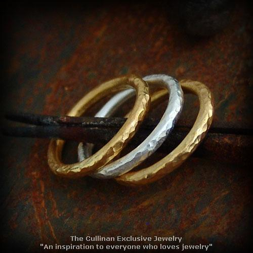 18K & 24K Gold Hammered Wedding Band Stack Ring Set