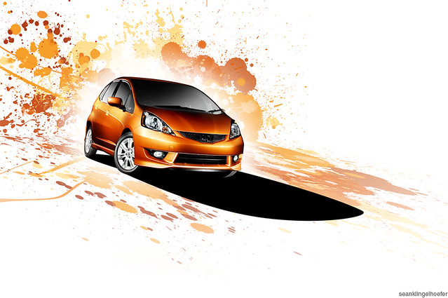 orange car honda fit seanklingelhoefer