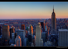 Manhattan at sunset - From Top of the Rock (lyon photography) Tags: nyc newyorkcity sunset sky canon highresolution view lyon manhattan may icon empirestatebuilding essence typical visual overlooking iconic bigapple hdr symbolic definitive thecitythatneversleeps 12mp jameslyon flickraward wwwlyonphotographycouk
