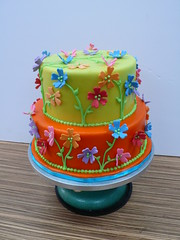 Garden Party cake (CAKE Amsterdam - Cakes by ZOBOT) Tags: birthday flowers wedding cakes colors cake garden utrecht verjaardag celebration marzipan stacked specialty fondant tiered taart taarten sweetthings zoegottehrer bruidstaarten