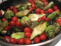 Braised baby artichokes provencal