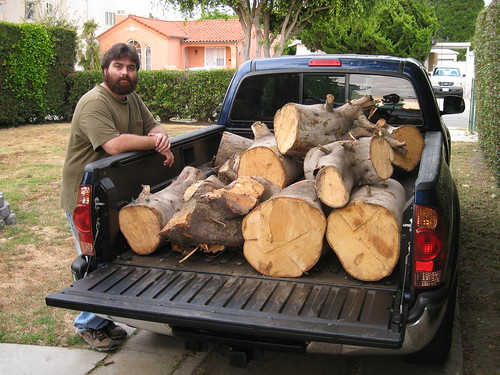 me with logs in my truck bed