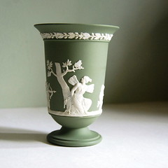 Wedgwood Jasperware Vase, Sage Green with Cupid and Psyche (calloohcallay) Tags: green classic vintage housewares sage vase cupid psyche wedgwood jasperware calloohcallay