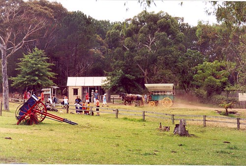 Old Sydney Town, Somersby: huts and wagon
