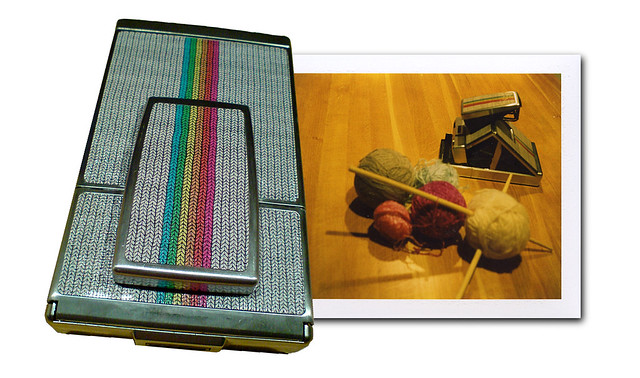 Polaroid SX-70 skin - knitted rainbow