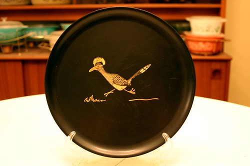 Couroc of Monterey Roadrunner Large Round Plate