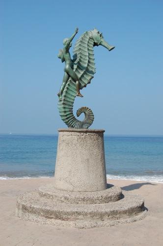 Landmark Sculpture of Puerto Vallarta, Mexico -- man riding seahorse