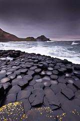 Giant's Causeway, Co. Antrim, Ireland (jogorman) Tags: ireland sunset cloud storm reflection rain stone clouds reflections giant evening coast twilight nikon surf waves wind cloudy dusk stones north steps wave windy stormy explore step stepping coastline giants lichen ni northern lichens causeway antrim explored d3x