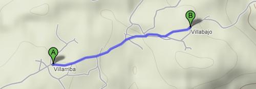 Captura de pantalla de Google Maps mostrando la ruta entre los pueblos de Villarriba y Villabajo