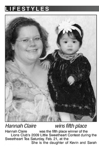 newspaper clipping - 5th place in Little Sweetheart Contest