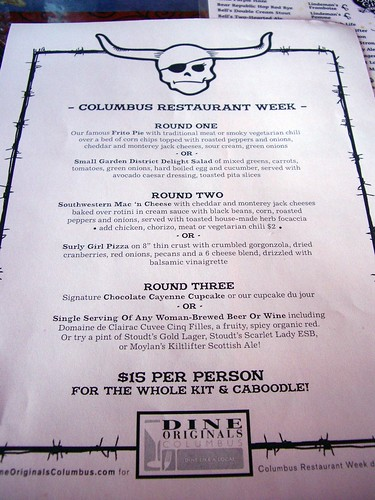 Surly Girl Saloon's Restaurant Week Menu