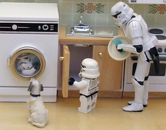 Spin and seek. (waihey) Tags: dog game kitchen miniatures starwars sink spin stormtroopers plate hideandseek washingmachine washing