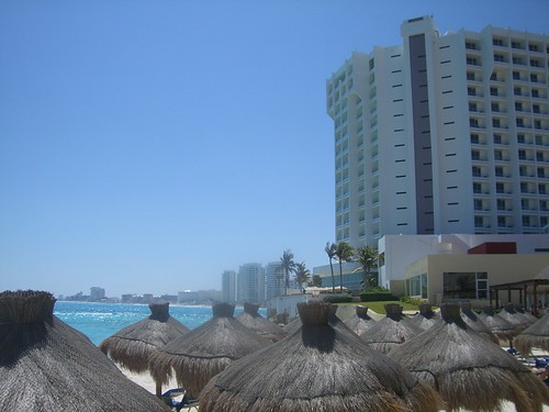 On the beach in Cancun