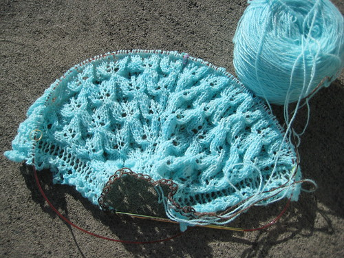Bee Fields Shawl beginning