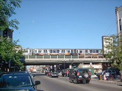 "The ""New"" Belmont Avenue CTA Brown line station under construction. Chicago Illinois. August 2007."
