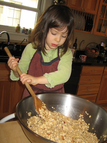 Anna mixing the granola