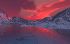 Fjord (Vestaligo - Vacation with Internet connection) Tags: schnee sunset red sky mountain snow water clouds river virtualreality golddragon sognidreams mallmixstaraward